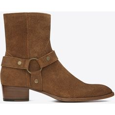 Saint Laurent Classic Wyatt 40 Harness Boot ($1,375) ❤ liked on Polyvore featuring men's fashion, men's shoes, men's boots, boots, men, mens harness boots, yves saint laurent mens boots, mens leather sole shoes, mens zipper shoes and mens leather soled boots