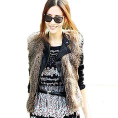 ROPALIA Vogue Womens Sleeveless Winter Warm Faux Fur Short Vest Coat Waistcoat ** Continue to the product at the image link.