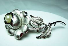 Vintage Crown trifari Rose Brooch Rhodium Faux by EclecticVintager, $25.00