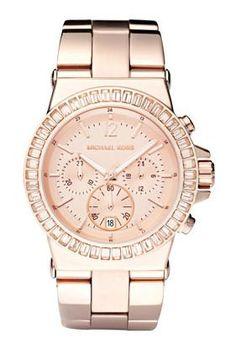 Michael Kors Watches Michael Kors Ladies Dylan Glitz Chronograph Rose Gold Dial $243 Amazon