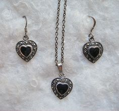 Vintage Onyx and Marcasite Sterling Silver by BlueOnionCurios, $20.00
