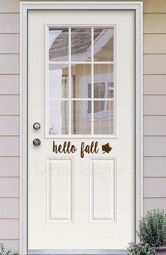 Hello Fall Vinyl Door Decal Personalized Door By DesisDesignz