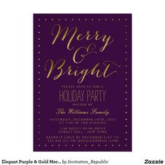 Elegant Purple & Gold Merry & Bright Holiday Party 5x7 Paper Invitation Card