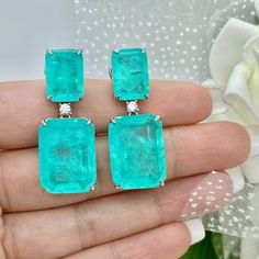 Magnificent Breathtaking Amazonka Mines Natural Paraiba | Etsy Tanzanite Jewelry, Tourmaline Necklace, Emerald Earrings, Drop Earrings, Columbian Emeralds, Neon Glow, Lab Created Diamonds, Matching Necklaces, Natural Crystals
