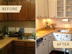 White paint, better lighting, new hardware makes for a bright new apartment kitchen. from Design*Sponge