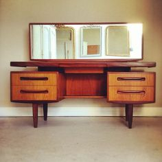 Vintage Retro Mid Century Modern G Plan Dressing Table - recessed with jewellery drawer