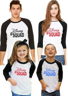Family Disney shirts are a perfect option for your Disney Vacation! This listing is for all sizes baby through adult! Black and white unisex raglan is a trendy sheer fabric.  .Family Disney Shirts - Disney Squad Raglan (Baby - Adult)
