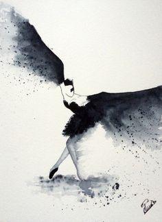 Art Ballet, Ballet Drawings, Arte Black, Sketch Painting, Swan Lake, Black Swan, Grafik Design, Watercolor Paintings, Watercolors