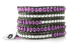 Purple Violet and Silvertone Beaded Brown Leather Bohemian 5x Wrap Bracelet in Gift Box. Gorgeous Purple Violet Beads and Silvertone Beads on 39 Inch Brown Leather. Unique Cuff Bracelet is 39 Inches Long and Wraps 5x Around on Average Size Wrists. Adjustable Loops & Silvertone Button Closure For The Perfect Fit. Arrives Ready To Give in Gift Box.
