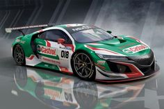 Honda NSX Honda will make its first European appearance at the 24 Hours of Spa Francorchamps In July. The relationship between Castrol and Honda dates back to the a first generation NSX sponsored by Castrol took pole position at Spa in 1993 Sports Car Racing, Sport Cars, Auto Racing, Racing News, Motor Sport, Drag Racing, Gt Cars, Race Cars, New Nsx