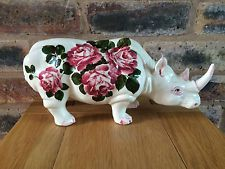 """Extremely Rare Wemyss Ware Pottery 12"""" Rhinoceros with Cabbage Roses"""