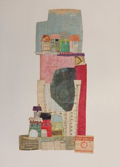 Elaine Hughes creates stitched collages, weaving together music, maps, letters and papers into imaginary landscapes / http://www.ohgollygosh.co.uk