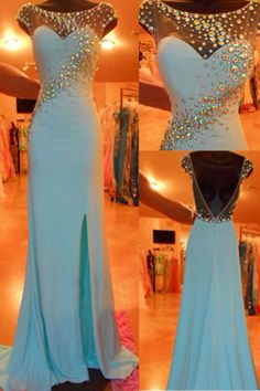 Blue Prom Dresses,2016 Evening Dresses,Slit Prom Gowns,Elegant Prom Dress,BacklessProm Dresses,Chiffon Evening Gowns,2016 Open Backs Formal Dress
