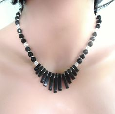 Black Stone Necklace Handmade Cleopatra's Beaded Necklace Healing Strand Collar Necklace Gemstone Fan Necklace Gifts for Her  #1453, by AlsJewelryDesigns on Etsy