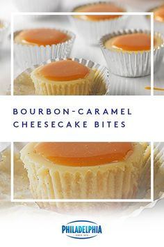 You'll be the MVB (Most Valuable Baker) when you bring these Bourbon-Caramel Cheesecake Bites to your game day party. Caramel Cheesecake Bites, Cheesecake Recipes, Dessert Recipes, Coconut Cheesecake, Fruit Dessert, Mini Desserts, Just Desserts, Delicious Desserts, Yummy Food