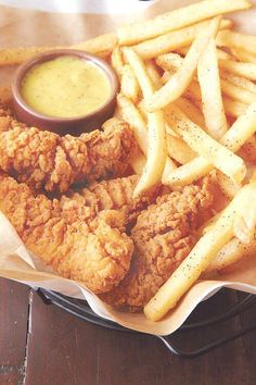 Chicken Tenders  Fries with a hint of Pepper. I prefer Ranch for the sauce though...