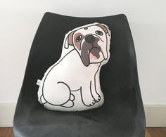 Bulldog Pillow // Dog Shaped Pillow by karaburkeillustrates