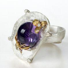 Amethyst ring gold ring amethyst gemstone ring di ArleneJewels