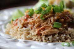 Fiesta Chicken with Rice - 5 ingredients in the crockpot, very easy weeknight dinner.