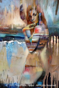 "Figure Art Painting - Artist Tim Parker ""Melting Ice"" Abstract Figurative Artwork Print"