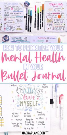 How To Bullet Journal for Mental Health: 19 Page Ideas - - Many people struggle with mental health concerns. Here are 19 ideas on how your Bullet Journal can help you with your mental health. Bullet Journal Mental Health, Self Care Bullet Journal, Bullet Journal Notebook, Bullet Journal Ideas Pages, Bullet Journal Inspiration, Journal Prompts, Bullet Journal Anxiety, Bullet Journal For Work And Personal, Bullet Journals