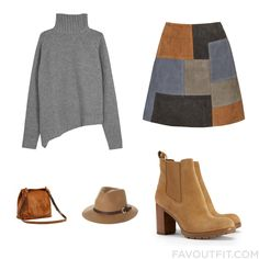 Wardrobe Recipe With Joseph Sweater Short Skirt Tory Burch Ankle Booties And Brown Purse From September 2015 #outfit #look