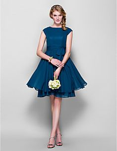 A-line/Princess Jewel Knee-length Chiffon Bridesmaid Dress (... – USD $ 69.99