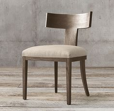 RH - Contemporary Klismos Fabric Side Chair in Brushed Brown Oak x x Klismos Dining Chair, Dining Chairs, Dining Rooms, Dining Table, Restoration Hardware Table, Furniture Vanity, Furniture Ideas, Home Hardware, Traditional Design