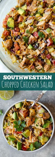 The flavors and textures in this easy southwestern chopped chicken salad are unbelievable!! Use up leftovers and make in minutes. Recipe on sallysbakingaddic...