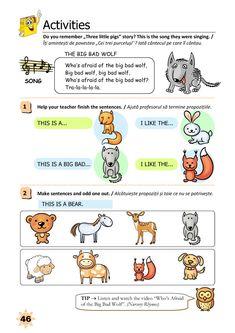 Clasa Pregătitoare : Limba engleză pentru clasa pregătitoare Three Little Pigs Story, Big Bad Wolf, Do You Remember, Esl, Homeschooling, Crafts For Kids, Singing, English, Songs