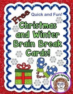 Here are 12 FREE Brain Break Cards for Christmas and for Winter! These are great at this wiggly time of year. These Brain Breaks are all original, quick, and fun. They will get every student up out of their seat and moving. Classroom Freebies, Music Classroom, Future Classroom, Classroom Activities, Classroom Ideas, Preschool Learning, Holiday Themes, Christmas Activities, Winter Activities