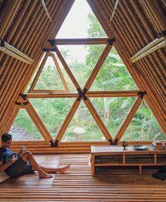 ideas bamboo tree house bali for 2019 Bamboo Building, Natural Building, Building A Shed, Building Plans, Bamboo House Design, Wooden House Design, Bamboo House Bali, A Frame Cabin, A Frame House