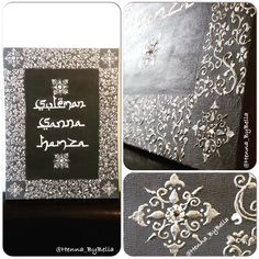 Grey, white and silver name canvas gift by @henna_bybella