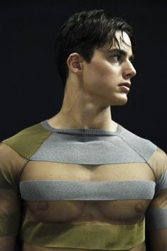 backstage at emporio armani. ok, this one is ridiculous. why do u want a t-shirt which displays your man-tits?