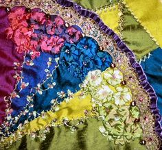 I ❤ crazy quilting . . . Vic's finished block- I love how the colors flow between the silk fan blades and the silk ribbon embroidery. Another gorgeous block!