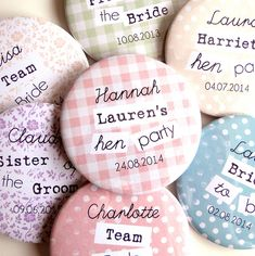 personalised hen party bridal badges by emily parkes art | notonthehighstreet.com