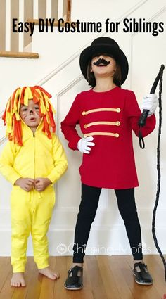 Easy DY Halloween Costumes: A Lion and Lion Tamer Easy DIY costumes for siblings and friends. No sewing required! DIY Halloween, DIY costume, DIY Lion costume, no sew lion hoodie Ringmaster Costume, Halloween Costumes To Make, Easy Diy Costumes, Circus Costume, Homemade Costumes, Halloween Diy, Zombie Costumes, Halloween Couples, Costume Ideas