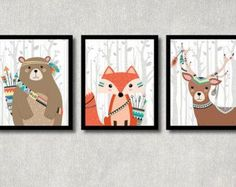 Bosques animales Set imprimible vivero arte por HappyFoxDesign