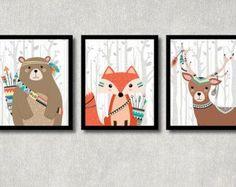 Bosques animales Set imprimible vivero arte impresiones bosque