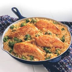 15-Minute Chicken and Rice (made this tonight but substituted the canned soup with the homemade cream of something soup mix. Also used 2 chicken breasts instead of 4 then shredded them and added the chicken in step 3 with the rice and veggies. Big hit with the kiddos!)