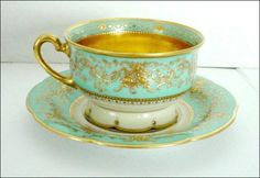"""Gorgeous color - robin's egg blue (also referred to as """"French Blue"""") and cream and bright high quality gold."""