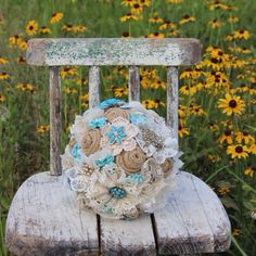 Turquoise Brooch Bouquet with burlap and lace flowers - I love the old chair now that is attic dried surface with much ware.