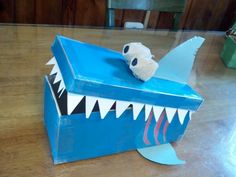 Shark Valentine Box Homemade Valentine Boxes, Valentine Day Boxes, Valentines For Boys, Valentines Day Treats, Valentine Activities, Valentine Crafts, Holiday Crafts, Holiday Fun, Projects For Kids