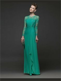 Green Column Lace Long Sleeves Chiffon 2014 Prom Dresses IPG0149 -Shop offer 2013 wedding dresses,prom dresses,party dresses for girls on sa...