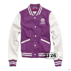 Franklin & Marshall Women Button Baseball Jacket Purple and White [Franklin & Marshall Women Button Baseball Jacket] - $92.00 : letterman jackets cheap