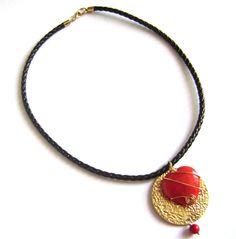 Necklace - braided faux leather, gorgeous red heart