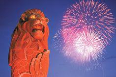 Night Life @ YourSingapore: Nightlife @ Sentosa. Beautiful Merlion and fireworks at Sentosa Pictures via http://yoursingapore-nightlife.blogspot.sg/2011/01/nightlife-sentosa.html