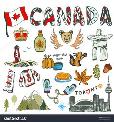 Illustration about Sketch hand drawn collection of Canada symbols. Canadian culture had sketched set. Vector travel illustration with doodle lettering. Illustration of horns, hockey, illustration - 70308093 Bullet Journal Canada, Canadian Symbols, Voyage Canada, Travel Doodles, Canadian Culture, Canada Holiday, Doodle Lettering, Travel Icon, Travel Illustration