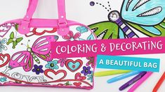 Ana and I had a great time coloring and decorating this beautiful bag. I admit, my biggest challenge was to have patience and accept her ideas, as her color . Mother Daughter Activities, Having Patience, Big Challenge, Creative Play, Better Together, Butterfly Wings, Beautiful Bags, Activities For Kids, Diaper Bag