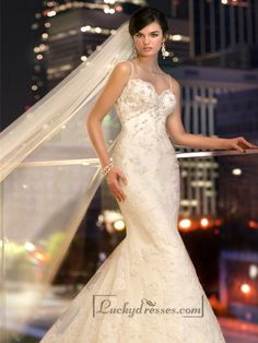Spaghetti Staps Slim-line Beaded Lace Appliques Low Back Wedding Dresses Sale On LuckyDresses.com With Top Quality And Discount